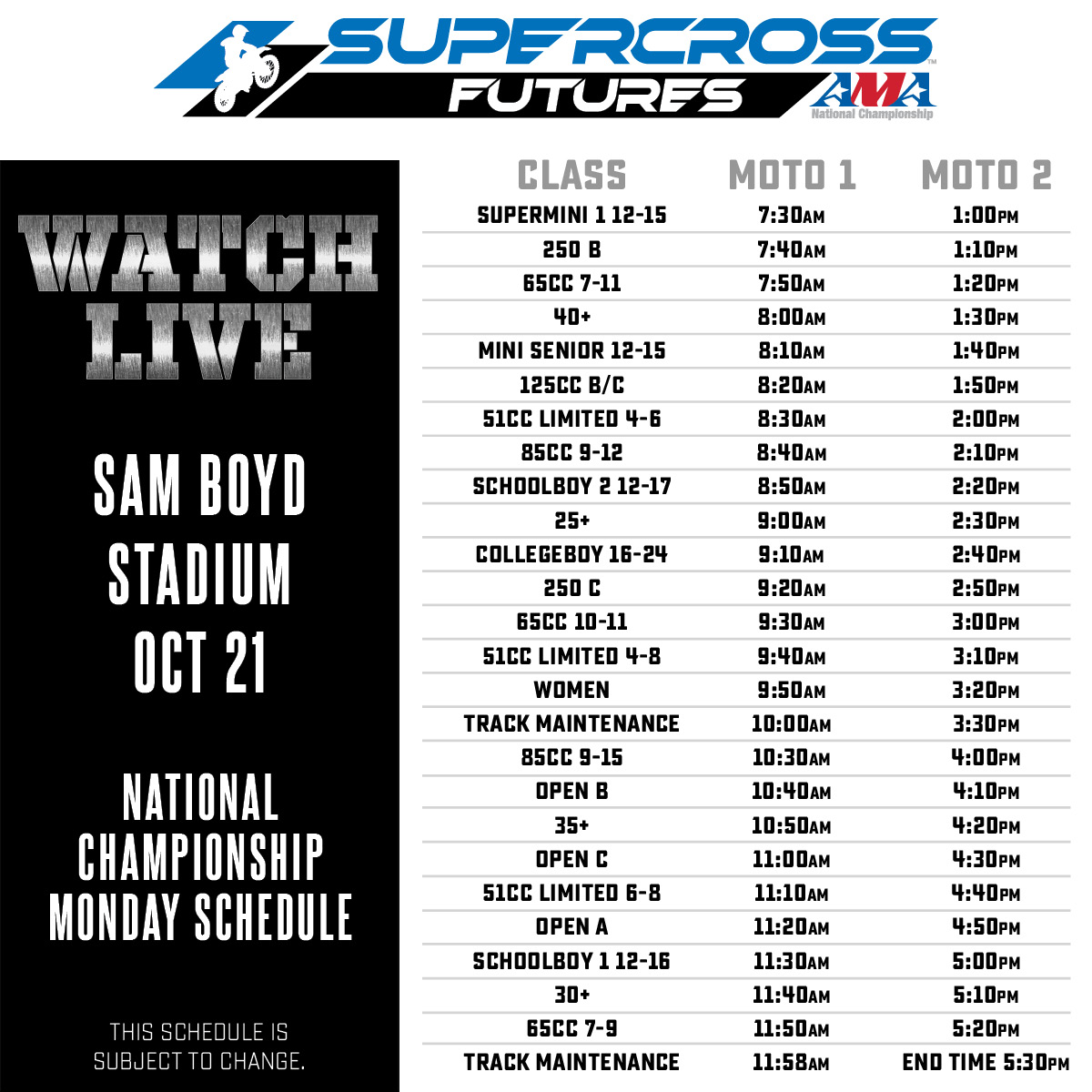 Supercross Futures Schedule