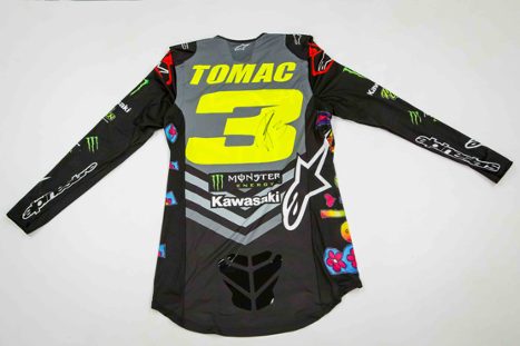 Eli Tomac's race-worn gear set is one of over 90 custom items that fans can bid on in the Supercross This Races Saves Lives St. Jude online auction through Monday May 4.