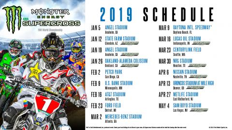 2019 Monster Energy Supercross Schedule