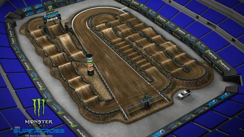 Lucas Oil Stadium Indianapolis, IN Mar. 14 2020 Monster Energy Supercross Track Map Side 1