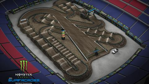 Gillette Stadium Foxboro, MA Apr. 18 2020 Monster Energy Supercross Track Map Side 1