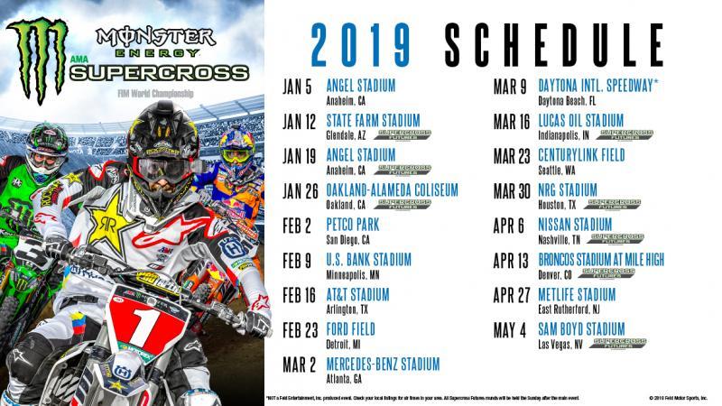 Calendrier Ama Supercross 2019.2019 Monster Energy Supercross Schedule Supercross Live